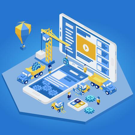 Mobile App Development, team di esperti. Piatto isometrico 3d. illustrazione di vettore