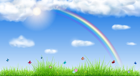 Spring background with sky, sun, clouds, rainbow, grass, flowers and butterflies Illustration