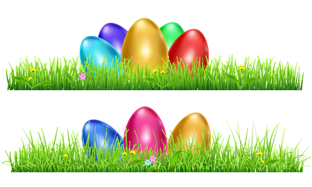 grass isolated: Green grass with Easter eggs and flowers isolated on white background