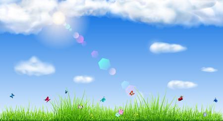 Printemps de fond avec le ciel, le soleil, les nuages, l'herbe, des fleurs et des papillons Banque d'images - 52986393