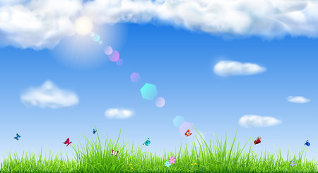Spring background with sky, sun, clouds, grass, flowers and butterflies