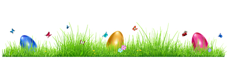 religion  herb: Green grass with Easter eggs, flowers and butterflies isolated on white background Illustration