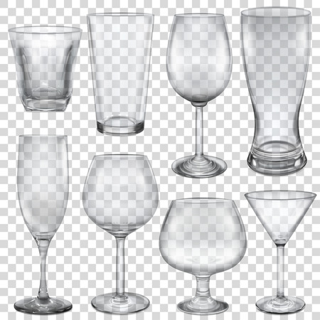 Transparent empty glasses and stemware for different drinks Illustration