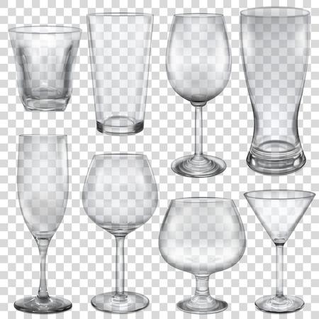vasos vacíos transparentes y las copas de diferentes bebidas