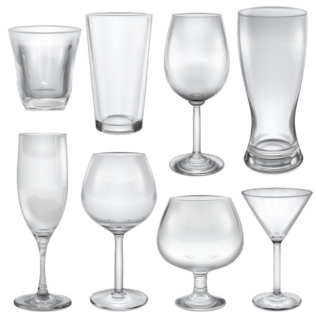 opaque: Opaque empty glasses and stemware for different drinks