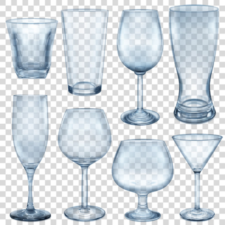 crystal glass: Transparent empty glasses and stemware for different drinks Illustration