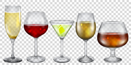 Transparent glasses and stemware with different drinks