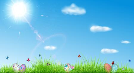 Fondo de Pascua con el cielo, el sol, la hierba, huevos de pascua, mariposas y flores