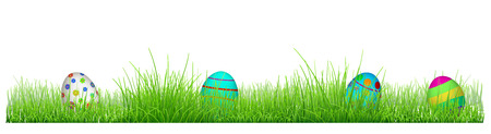 religion  herb: Green grass with Easter eggs isolated on white background