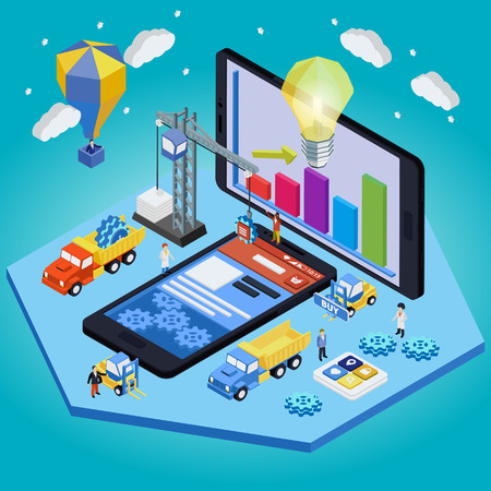 mobile crane: Material design flat isometric mobile, smart watch and lamp design web concept vector. People creating interface