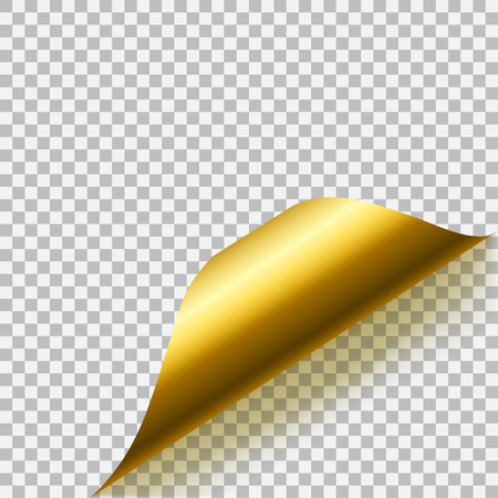 Curled corner of paper with shadow on transparent background. Transparency only in vector format Illustration