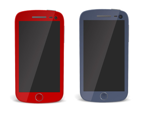iphon: Realistic detailed smartphones with shadow isolated on white background