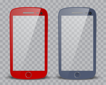 iphon: Realistic detailed smartphones with transparent screen isolated on transparent background. Transparency only in vector format