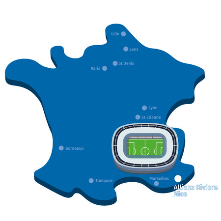 nice france: stadiums euro 2016 on the map of France. Allianz Riviera Nice vector clipart