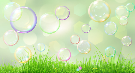 green flowers: Spring background with green grass, flowers and soap bubbles