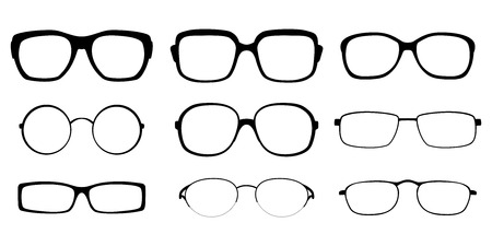 spectacle: Set of spectacle frames on white background Illustration