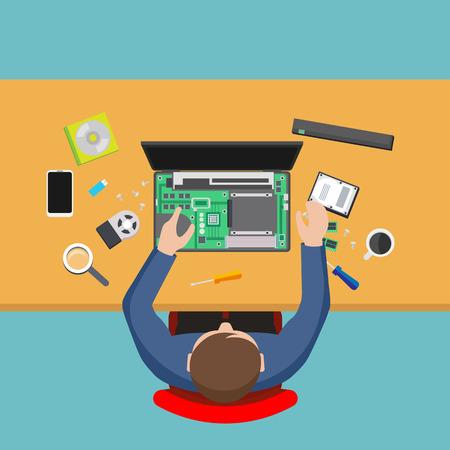 computer repairing: Computer service. Man repairing computer, PC repairer.
