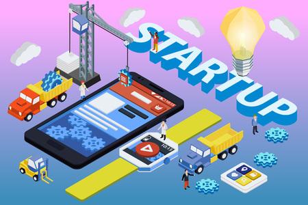 telefono caricatura: Desarrollo de aplicaciones móviles, equipo experimentado. SmartWatch plana 3D isométrica y el teléfono. Trabajar con un inicio. desarrollo web y el concepto de diseño de interfaz de usuario Vectores