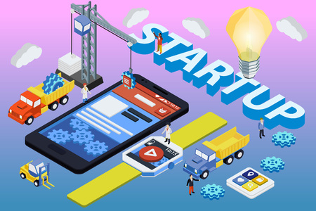 experienced: Mobile App Development, Experienced Team. Flat 3d isometric SmartWatch and phone. Work with a startup. Web development and UI design concept