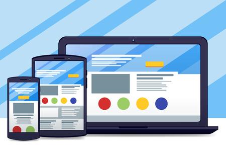 adaptive: Flat black laptop, tablet, phone. Development of adaptive design and a cloud service. Vector material design