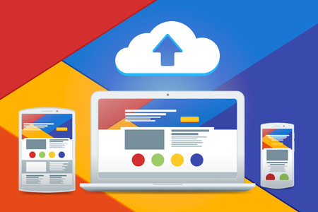 adaptive: Development of adaptive design and a cloud service. Flat white laptop, tablet, phone.  Vector material design.