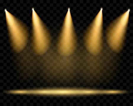 night club interior: Vector spotlights. Illumination of the scene. Transparent light effects. Transparency only in vector format Illustration
