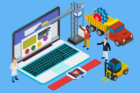 experienced: Flat 3d laptop and smart watches. Website development, experienced team. Teamwork. Responsive vector illustration. Illustration