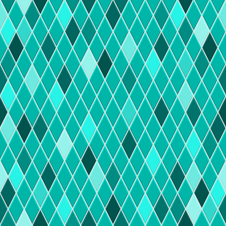 Seamless pattern of small rhombuses in turquoise colors with some colored rhombus