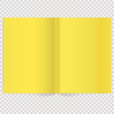 mag: Book Spread With Blank Yellow Pages. Vector blank magazine spread. Isolated Yellow paper Illustration