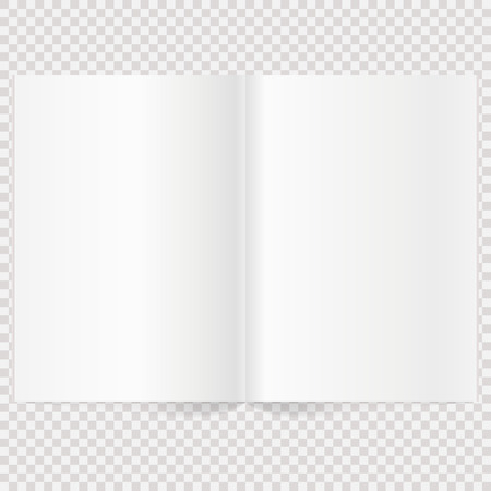 blank magazine: Vector blank magazine spread. Book Spread With Blank White Pages. Isolated white paper