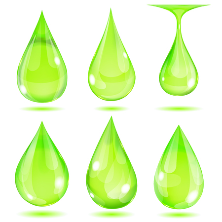 opaque: Set of opaque green drops on white background