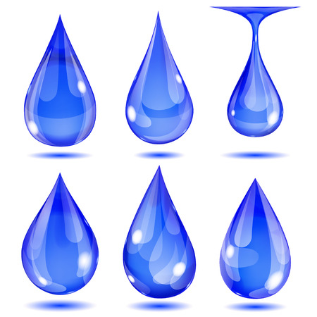 opaque: Set of opaque blue drops on white background Illustration