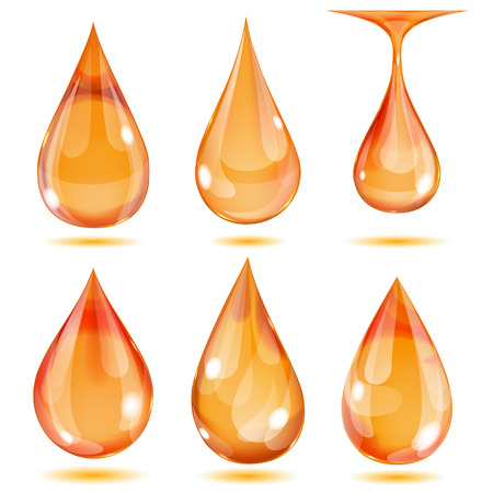 opaque: Set of opaque orange drops on white background Illustration