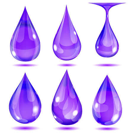 opaque: Set of opaque violet drops on white background