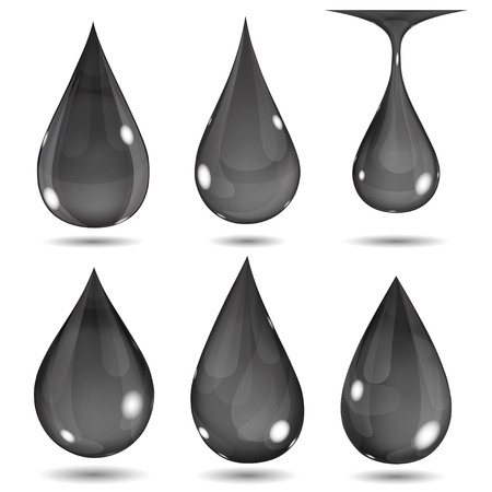 opaque: Set of opaque black drops on white background