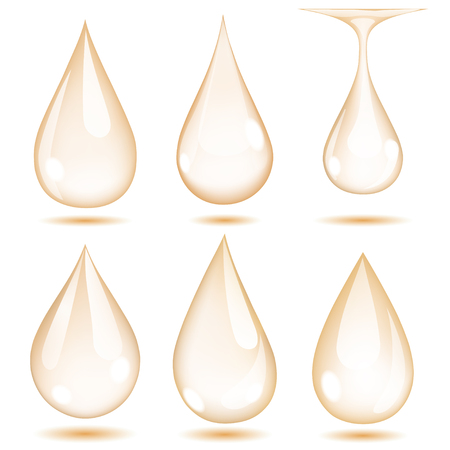 opaque: Set of opaque beige drops on white background