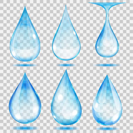 Set of transparent drops in light blue colors. Transparency only in vector format. Can be used with any background Ilustração