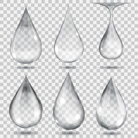 Set of transparent drops in gray colors. Transparency only in vector format. Can be used with any background Vectores