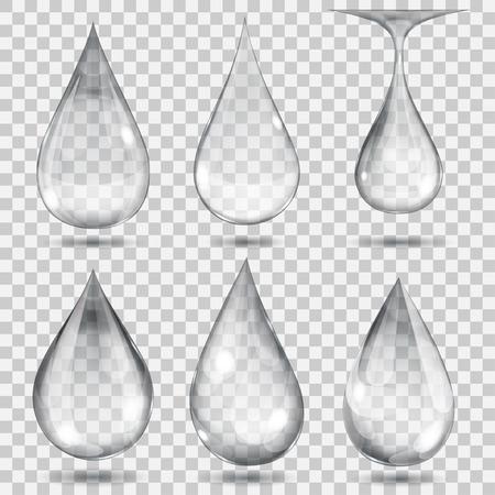 el agua: Conjunto de gotas transparentes en colores grises. La transparencia s�lo en formato vectorial. Puede ser utilizado con cualquier fondo