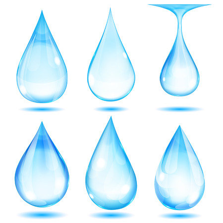 Set of opaque light blue drops on white background