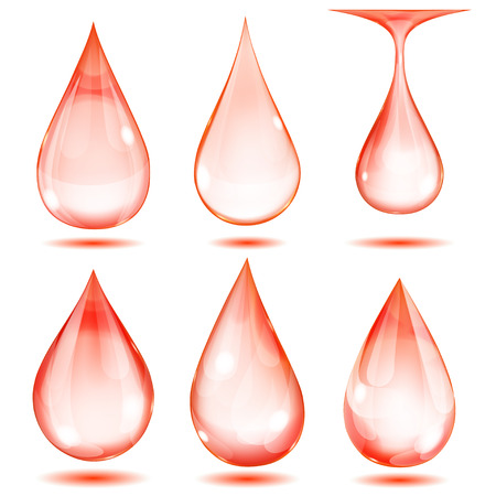 opaque: Set of opaque red drops on white background Illustration
