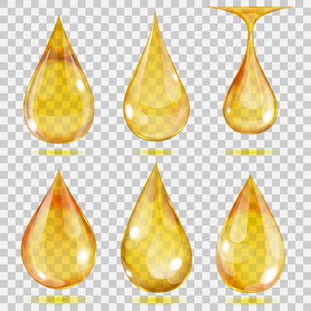Set of transparent drops in yellow colors. Transparency only in vector format. Can be used with any background