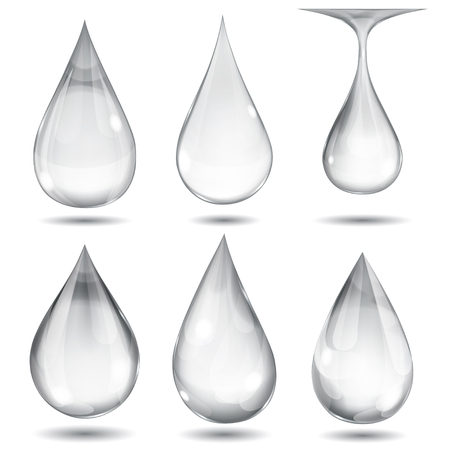 Set of opaque gray drops on white background