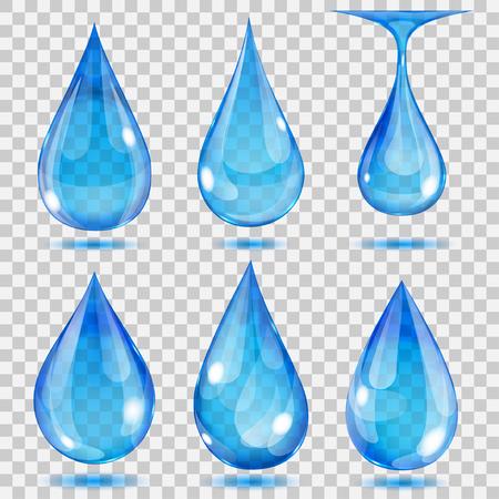 光の青の色の透明な滴のセットです。ベクトル形式でのみ透明度です。任意の背景を使用可能
