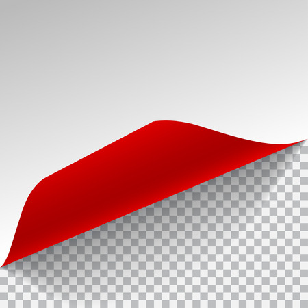 red sheet: White and red sheet of paper with curved corner and with shadow on transparent background. Transparency only in vector format