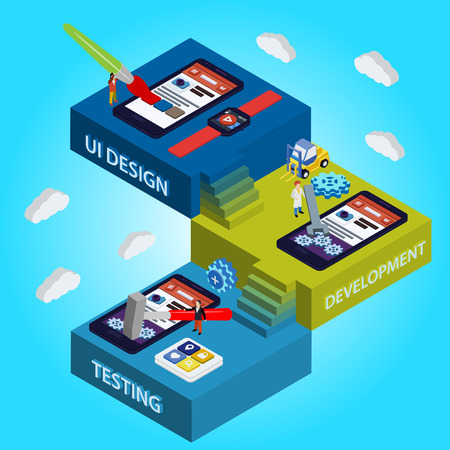 development: Flat 3d isometric UI design, developer, testing app. Process of app development. Illustration