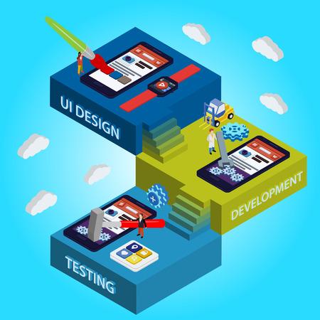 software icon: Flat 3d isometric UI design, developer, testing app. Process of app development. Illustration