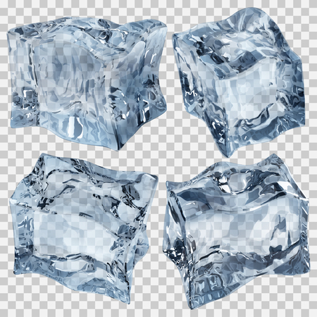 refrigerate: Set of four transparent ice cubes in light blue colors. Transparency only in vector file