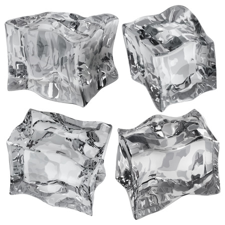 opaque: Set of four opaque ice cubes in gray colors