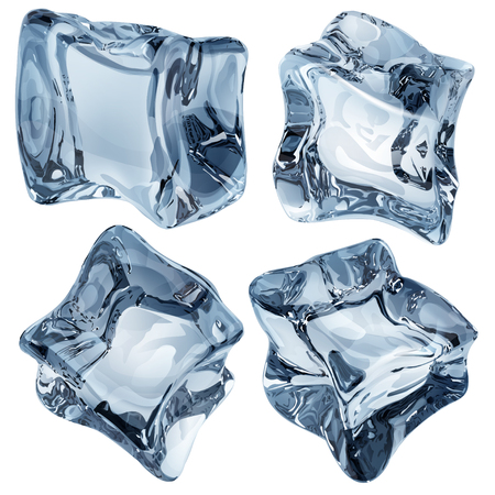 opaque: Set of four opaque ice cubes in light blue colors